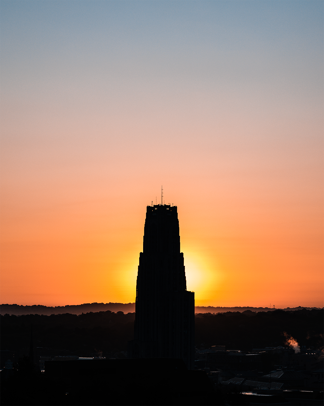 Cathedral of Learning during sunrise